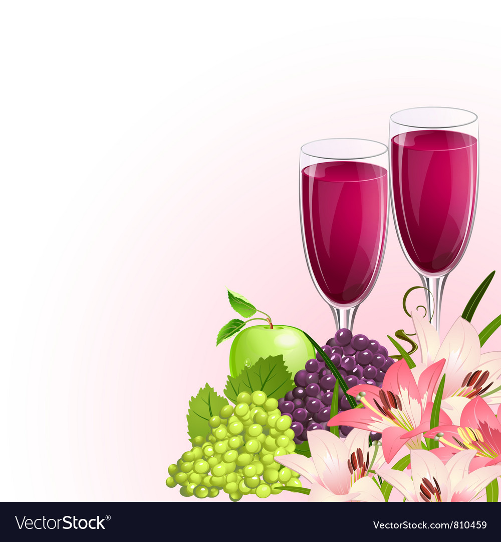 Glass wine fruit vector | Price: 3 Credit (USD $3)