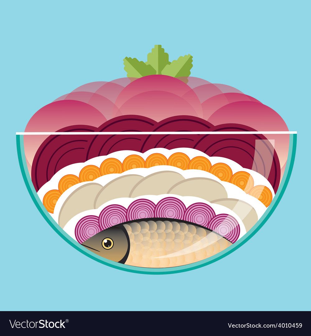 Herring under a fur coat vector | Price: 1 Credit (USD $1)