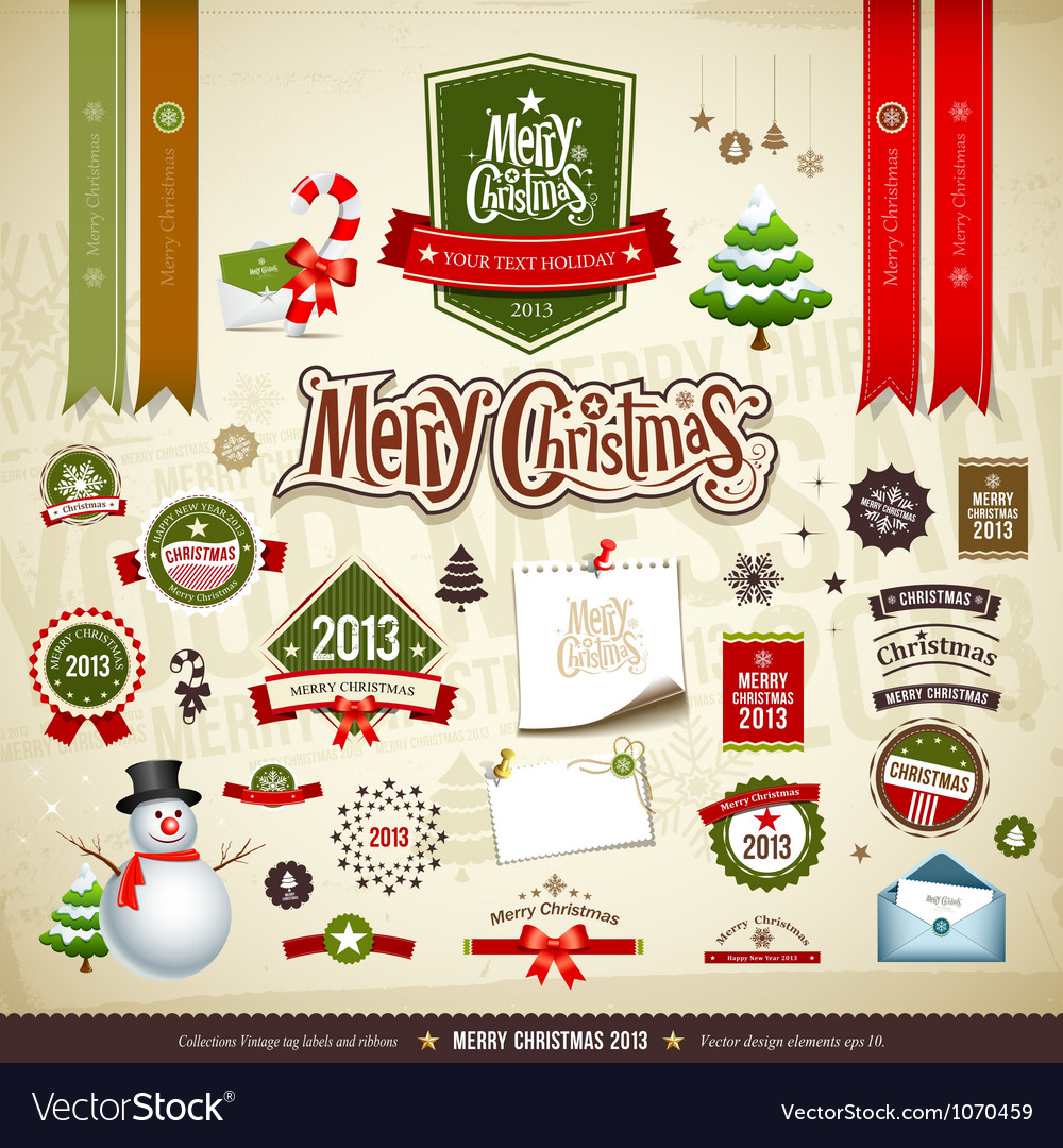 Merry christmas design elements vector | Price: 3 Credit (USD $3)