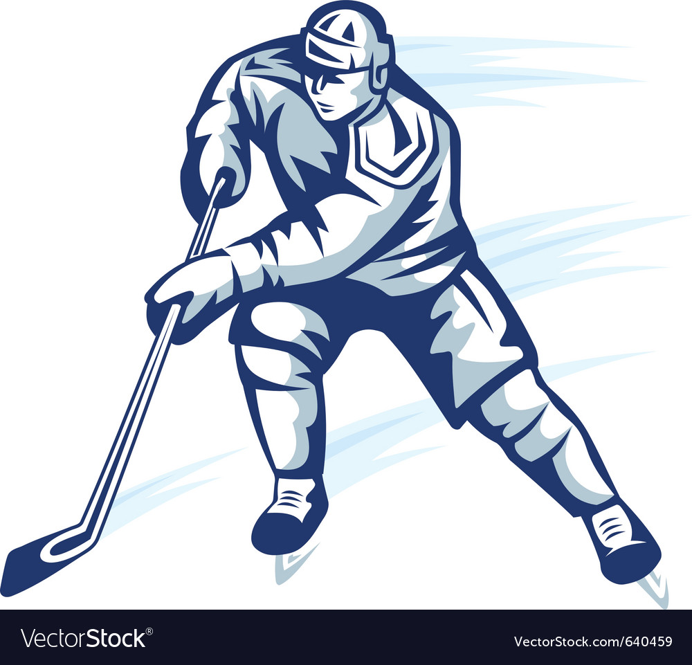 Moving hockey player in retro silhouette style for vector | Price: 1 Credit (USD $1)