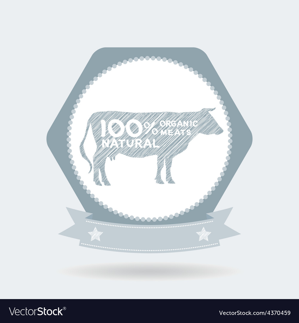 Premium beef label badge farm shop cow milk vector | Price: 1 Credit (USD $1)