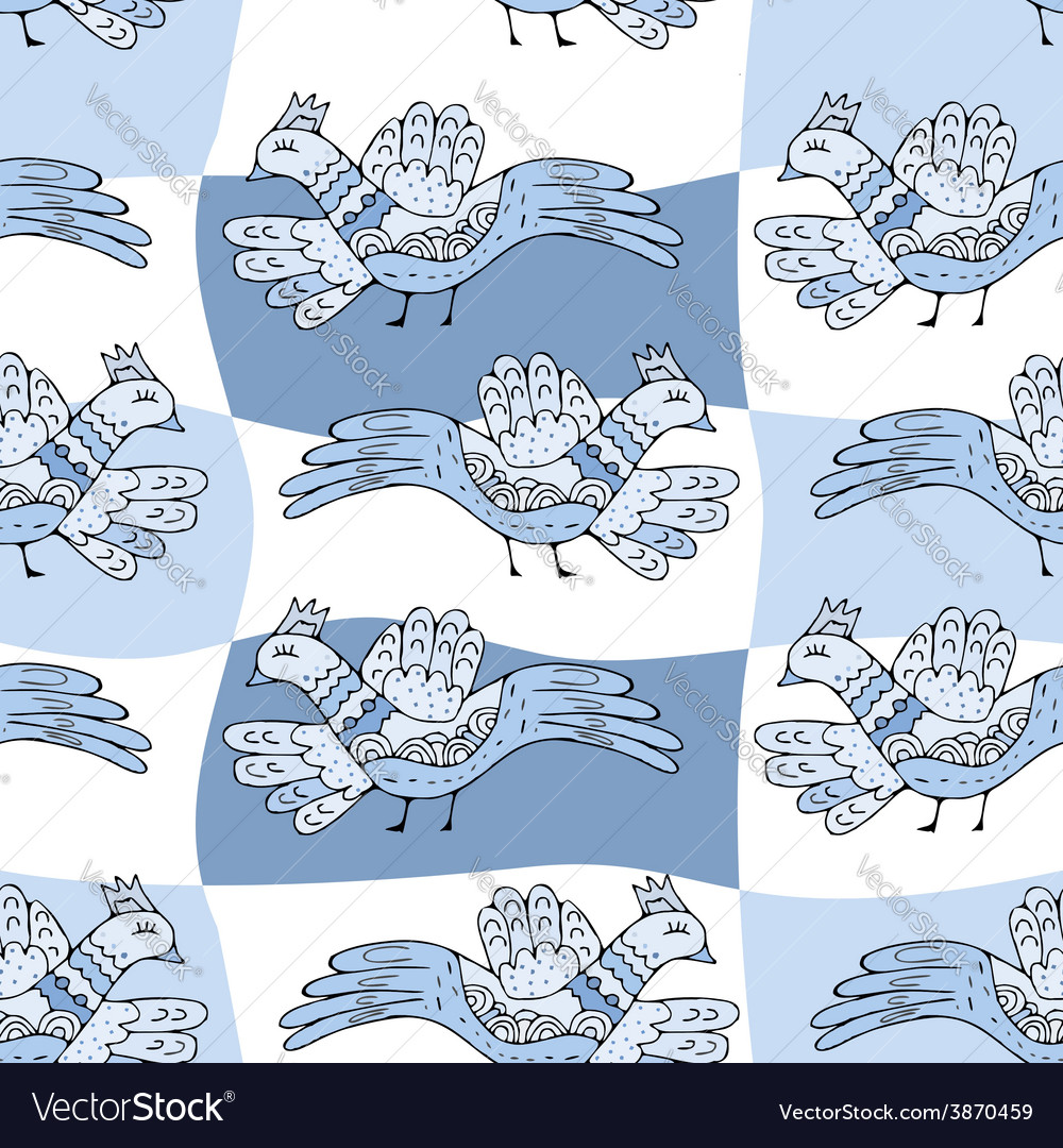 Primitive drawing birds cartoon seamless pattern vector | Price: 1 Credit (USD $1)