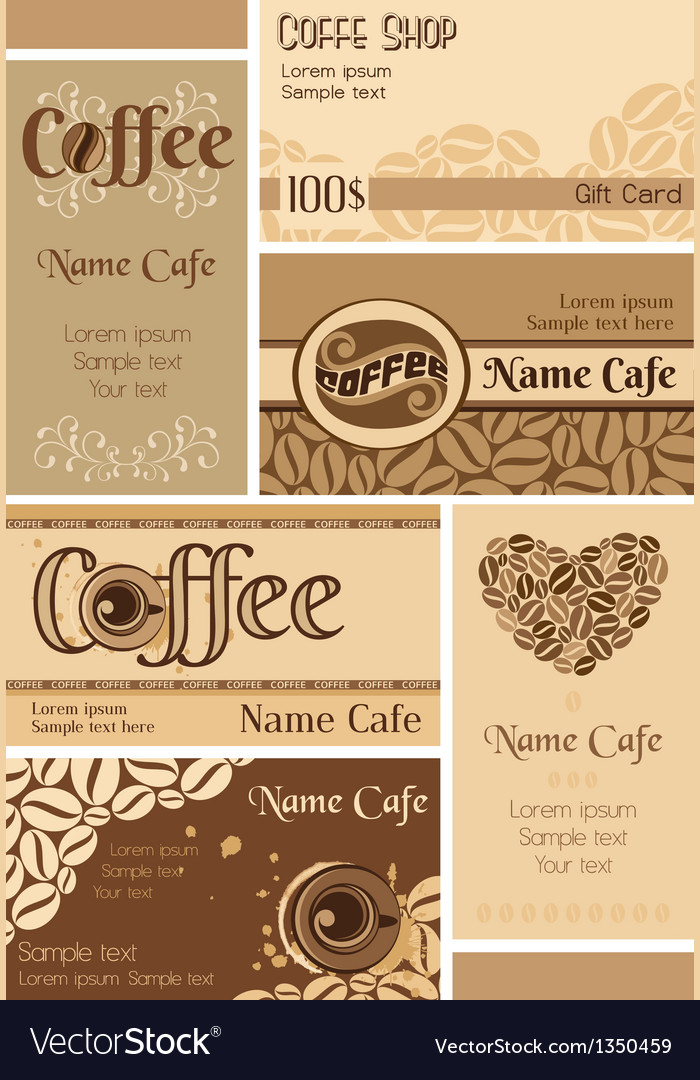 Set of coffee business cards vector | Price: 1 Credit (USD $1)