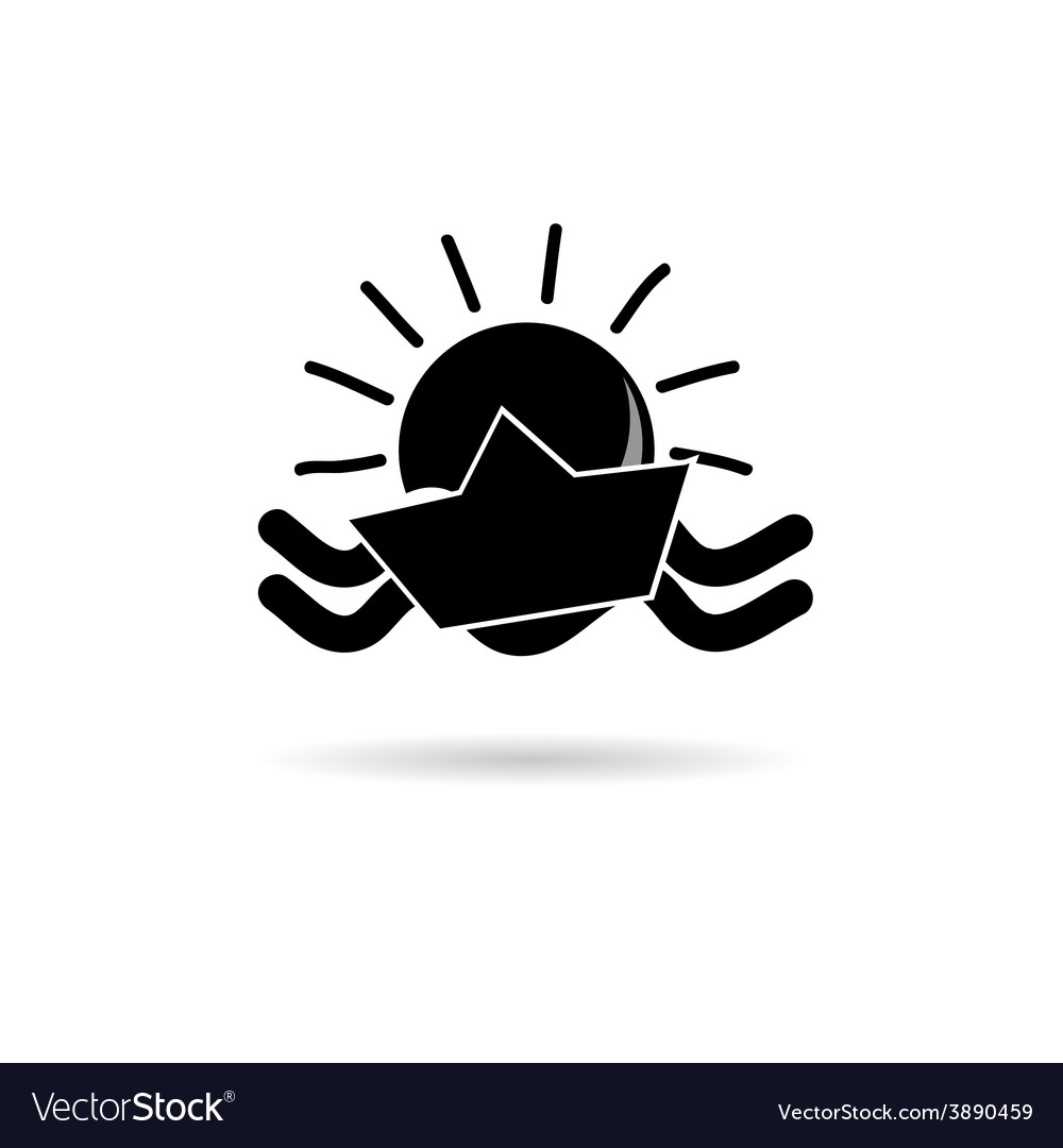 Sun icon with paper boat black vector | Price: 1 Credit (USD $1)