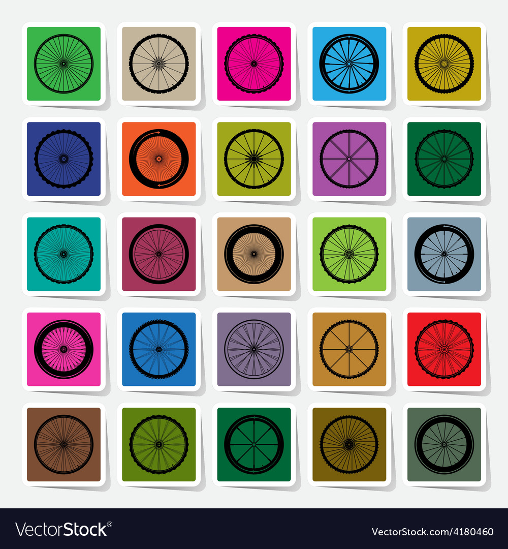 Bicycle wheels square sticker set vector   Price: 1 Credit (USD $1)