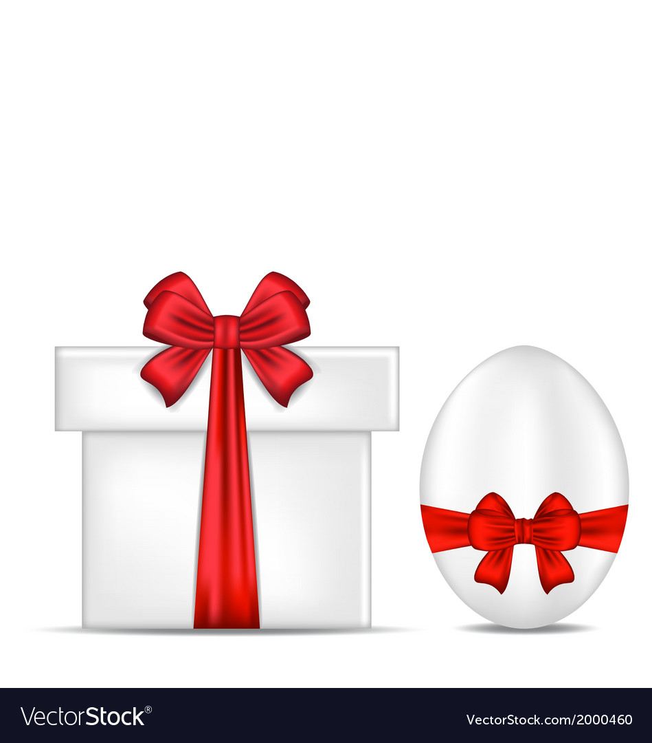 Easter gift box with red bow and egg vector | Price: 1 Credit (USD $1)