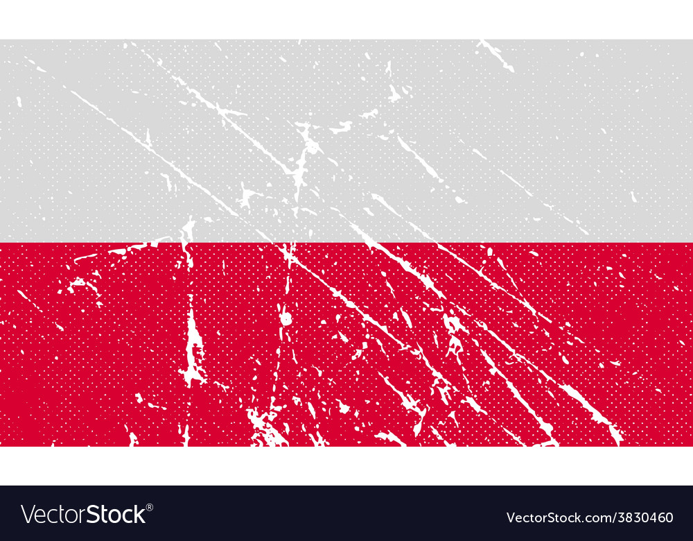 Flag of poland with old texture vector | Price: 1 Credit (USD $1)