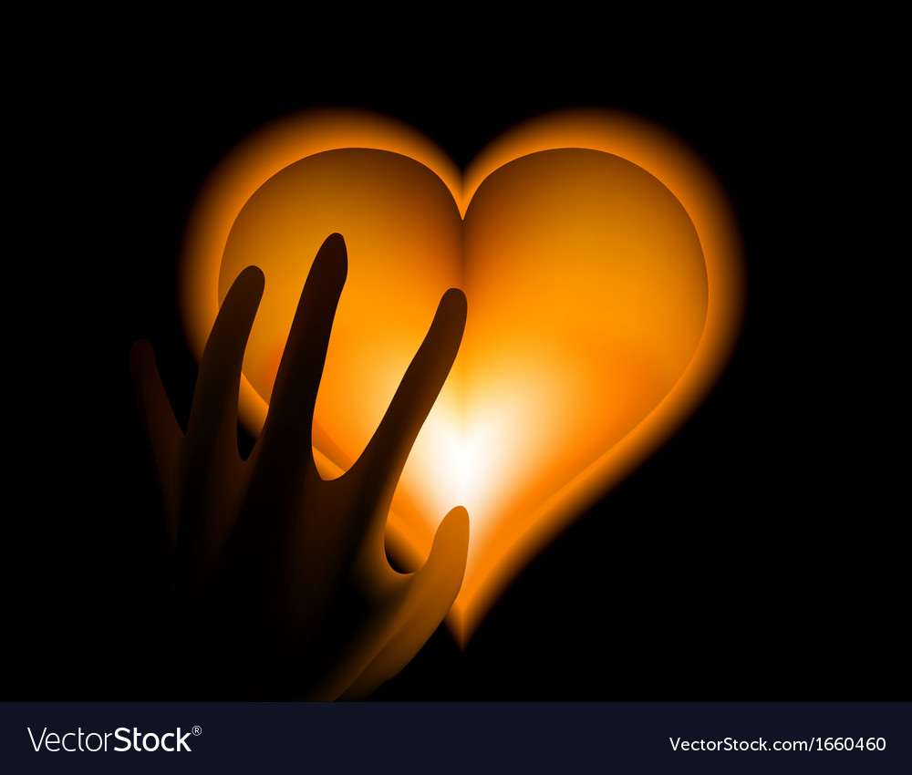 Hand in heat from gold heart cold vector | Price: 1 Credit (USD $1)
