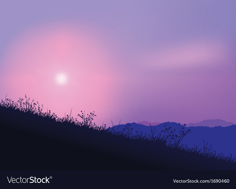 Meadow and sunrise vector | Price: 1 Credit (USD $1)