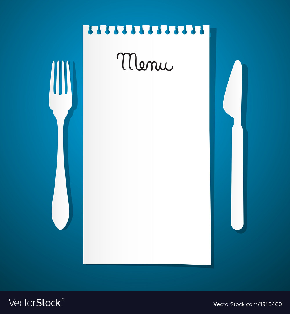 Paper restaurant menu with knife and fork on blue vector   Price: 1 Credit (USD $1)