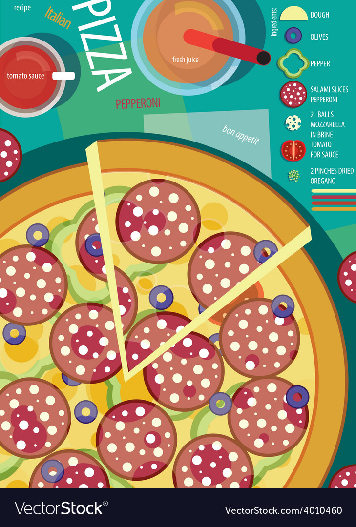 Pizza with sausages vector | Price: 1 Credit (USD $1)