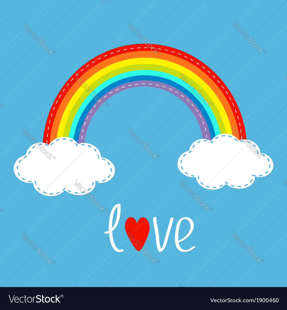 Rainbow and two clouds in the sky dash line love vector | Price: 1 Credit (USD $1)