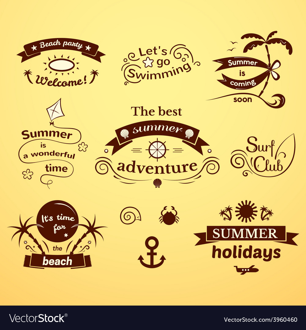 Summer signs set vector | Price: 1 Credit (USD $1)