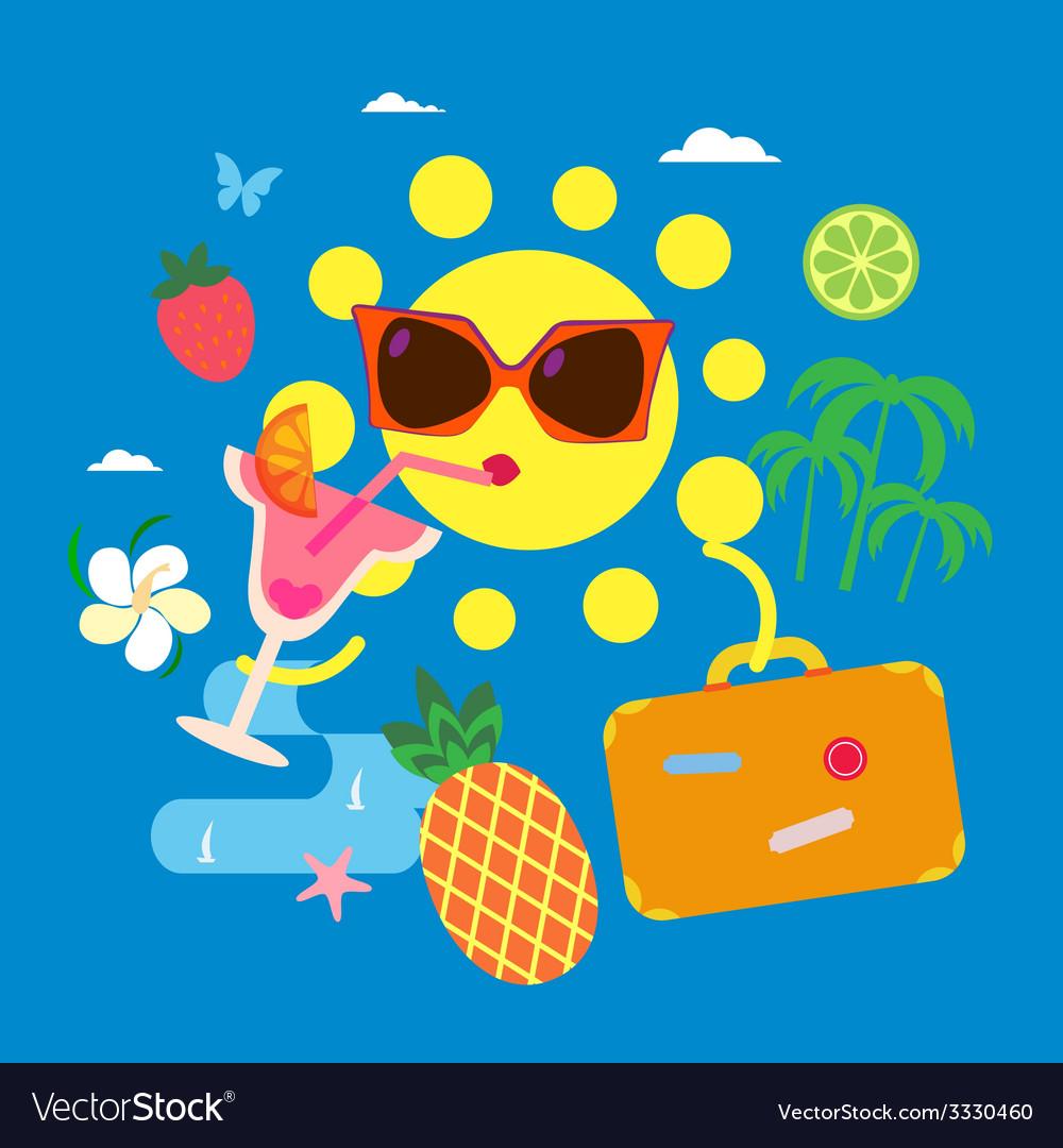 Summer sun vector   Price: 1 Credit (USD $1)