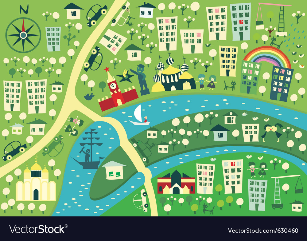 Town graphic map vector | Price: 1 Credit (USD $1)