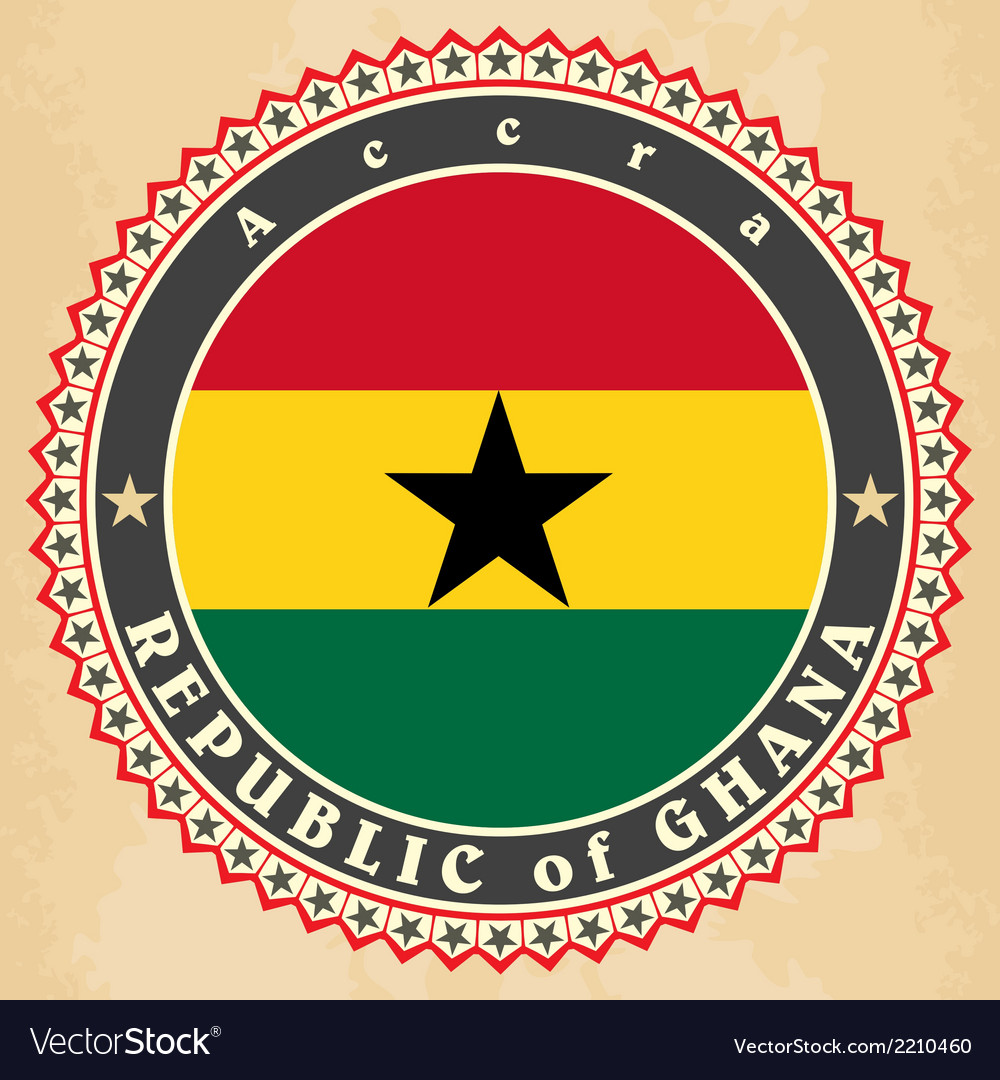 Vintage label cards of ghana flag vector | Price: 1 Credit (USD $1)