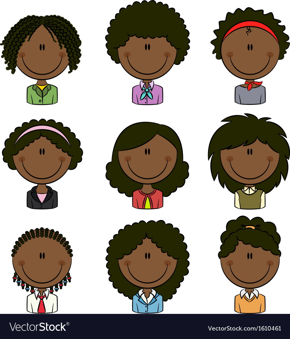 African-american female avatar vector | Price: 1 Credit (USD $1)