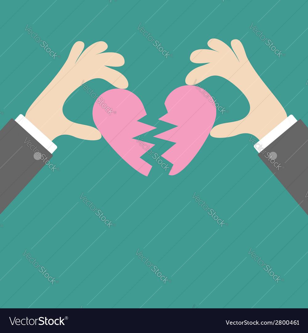 Businessman hands holding pink broken heart flat vector | Price: 1 Credit (USD $1)