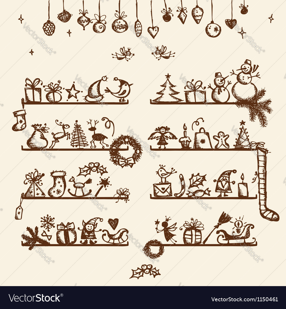 Christmas shop sketch drawing for your design vector | Price: 1 Credit (USD $1)