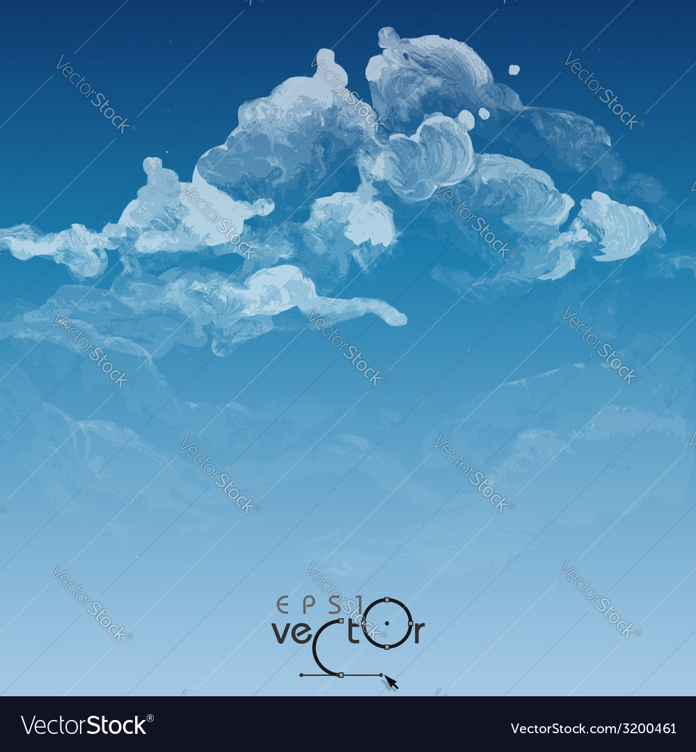 Cloud sky painted background vector | Price: 1 Credit (USD $1)