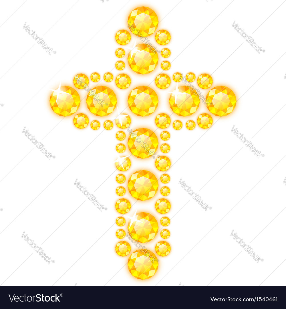 Cross of diamonds isolated on white vector | Price: 1 Credit (USD $1)