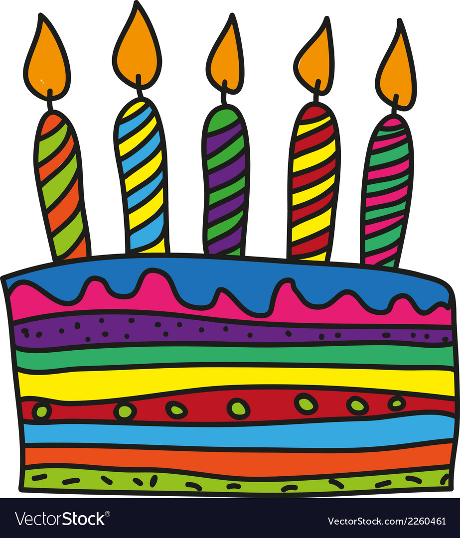 Doodle birthday cake vector | Price: 1 Credit (USD $1)
