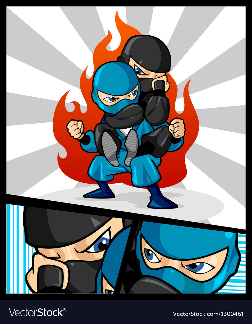 Fighting ninja vector | Price: 3 Credit (USD $3)