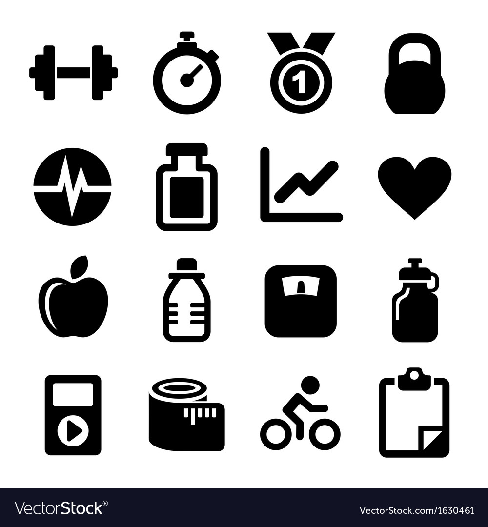 Fitness icons set vector | Price: 1 Credit (USD $1)