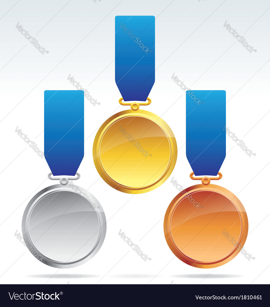 Gold silver and bronze medals vector | Price: 1 Credit (USD $1)