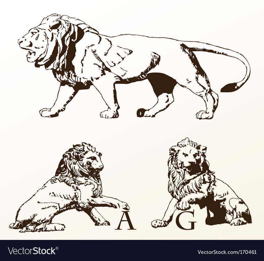 Heraldic animals lions old isolated vector | Price: 1 Credit (USD $1)