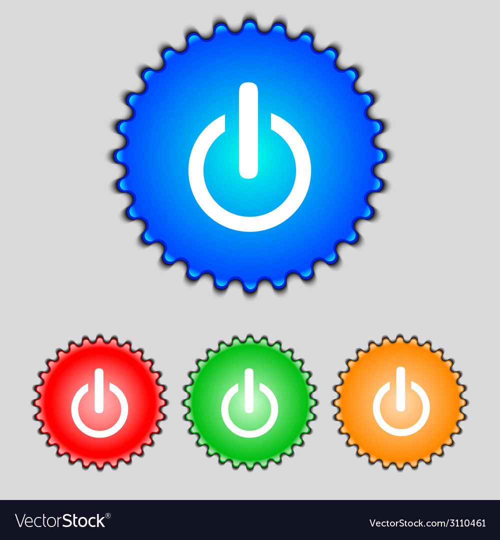 Power sign icon switch symbol turn on energy set vector | Price: 1 Credit (USD $1)