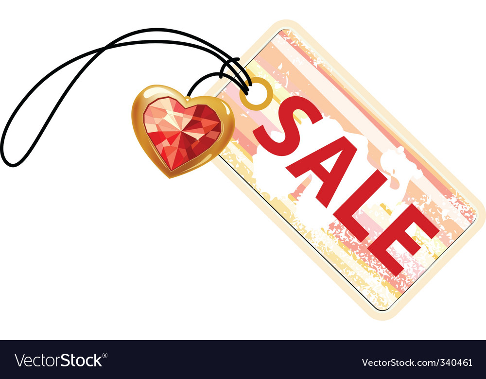 Sale label with gold heart vector | Price: 1 Credit (USD $1)