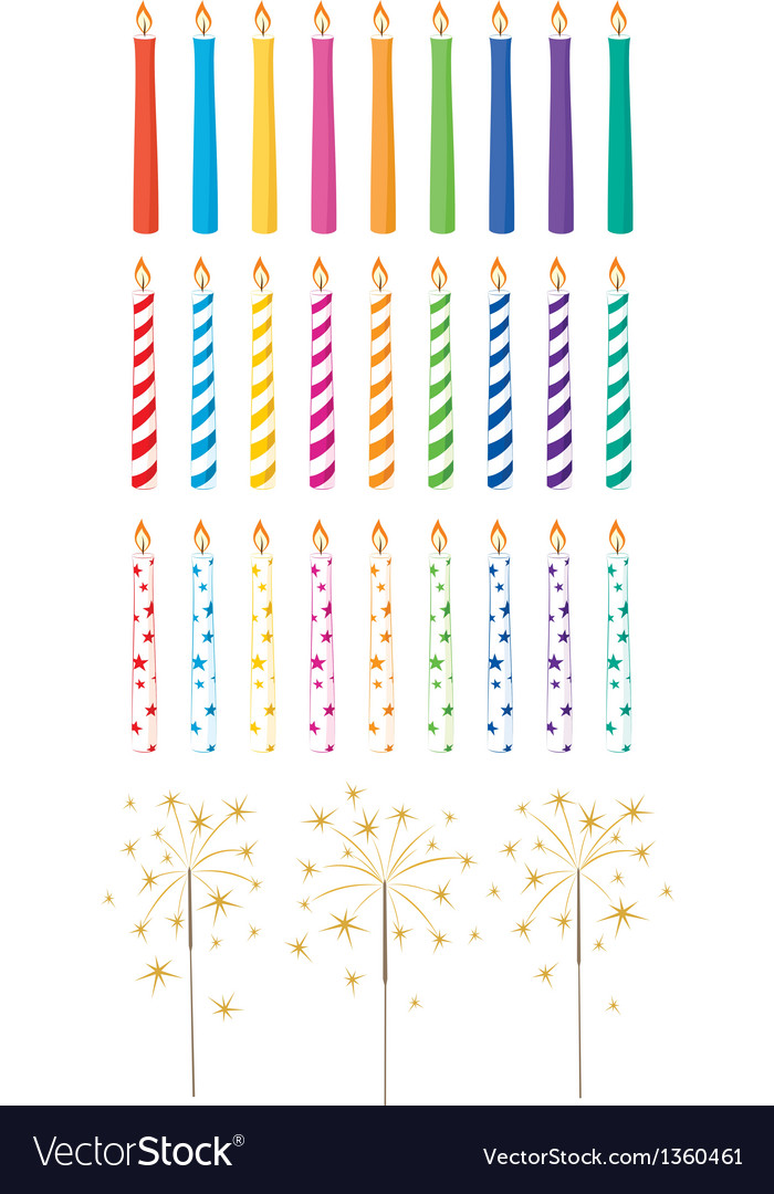 Set of celebration candles and sparklers vector | Price: 1 Credit (USD $1)