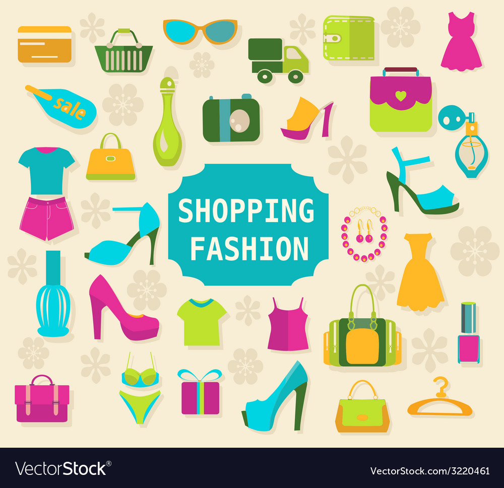 Shopping and fashion background vector | Price: 1 Credit (USD $1)