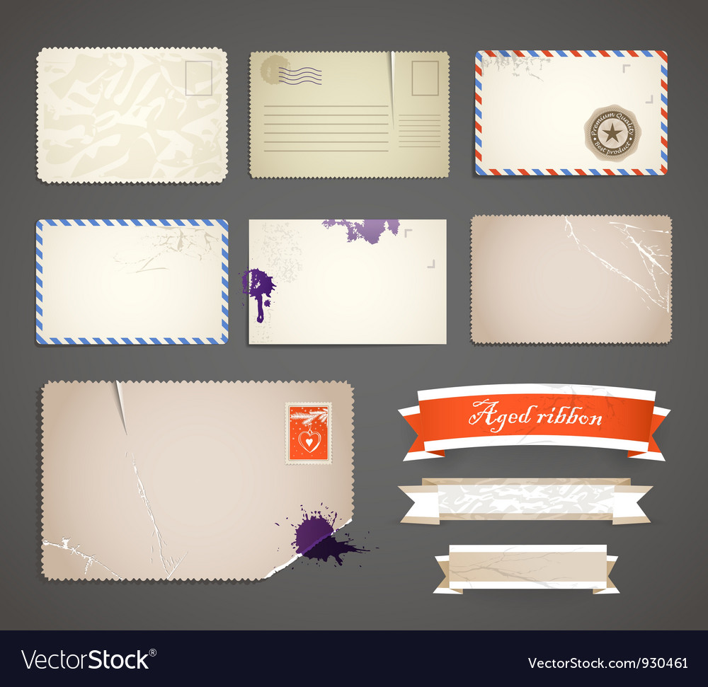 Vintage postcard templates vector | Price: 1 Credit (USD $1)
