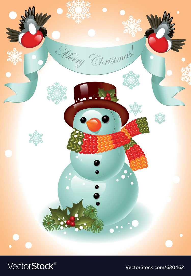 Christmas card snowman vector | Price: 3 Credit (USD $3)
