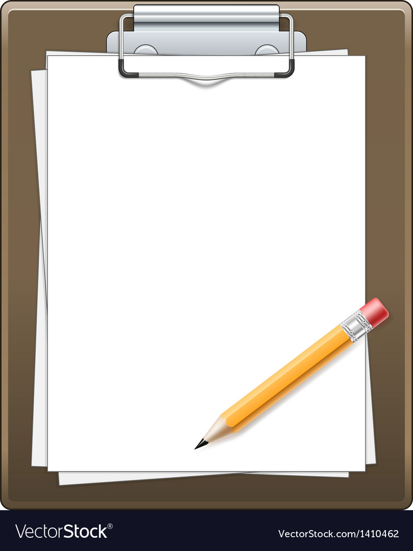 Clipboard with paper and pencil vector | Price: 1 Credit (USD $1)