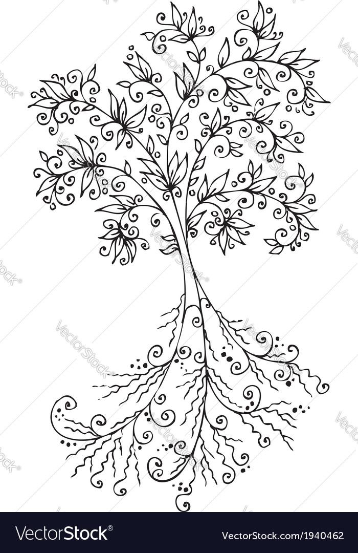 Floral decorative tree vignette 300 vector | Price: 1 Credit (USD $1)