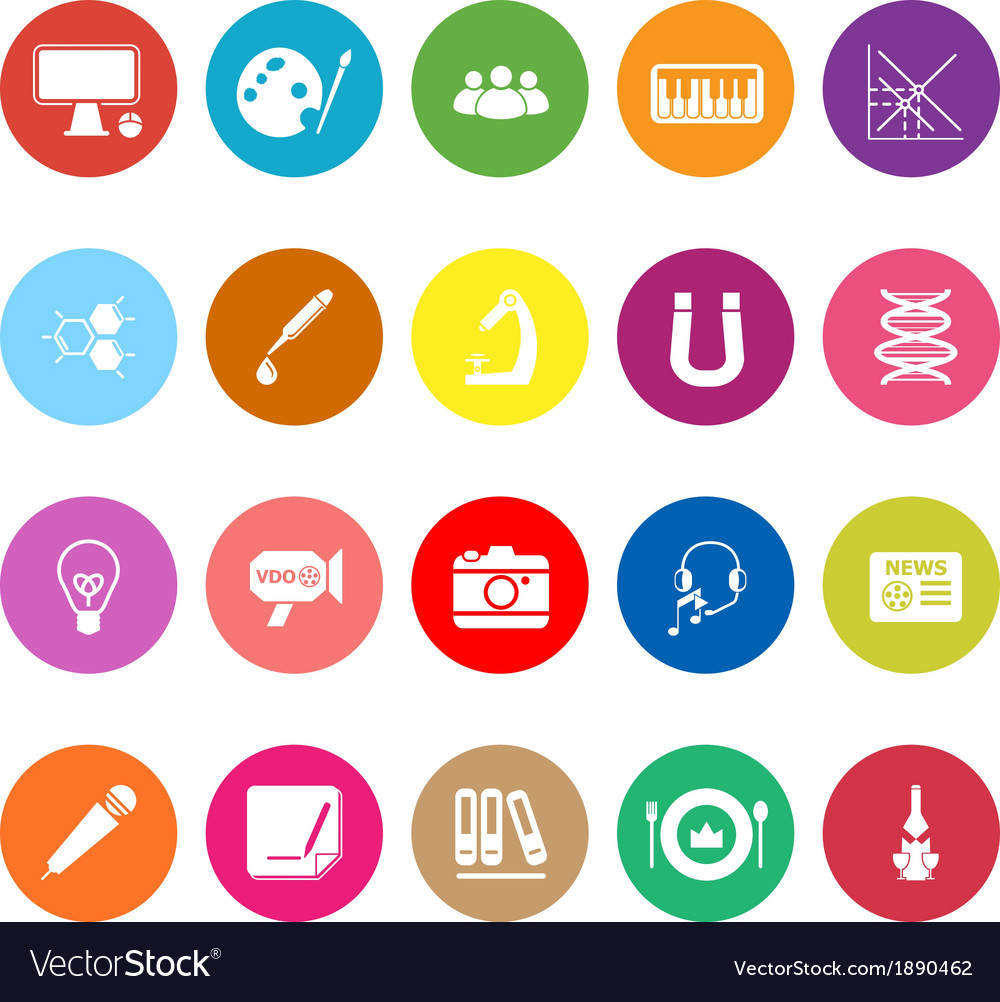 General learning flat icons on white background vector | Price: 1 Credit (USD $1)