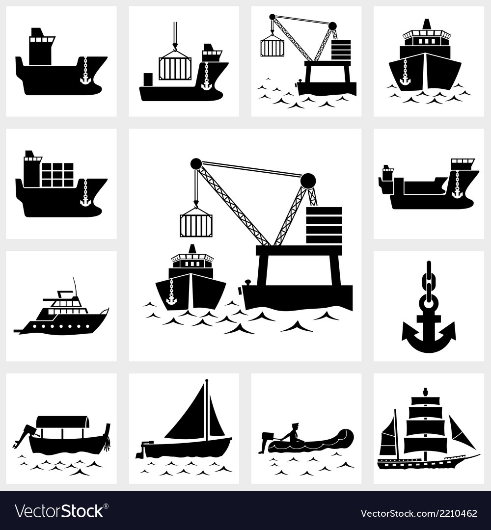 Icon set ship and boat vector | Price: 1 Credit (USD $1)