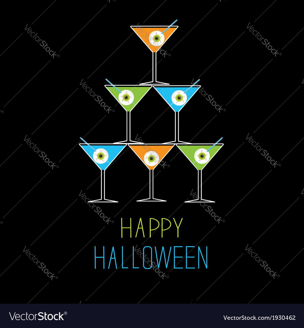 Martini glasses pyramid happy halloween card vector | Price: 1 Credit (USD $1)