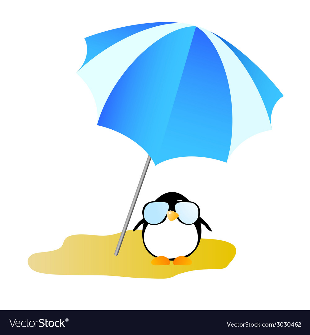 Penguin on a desert island art vector | Price: 1 Credit (USD $1)