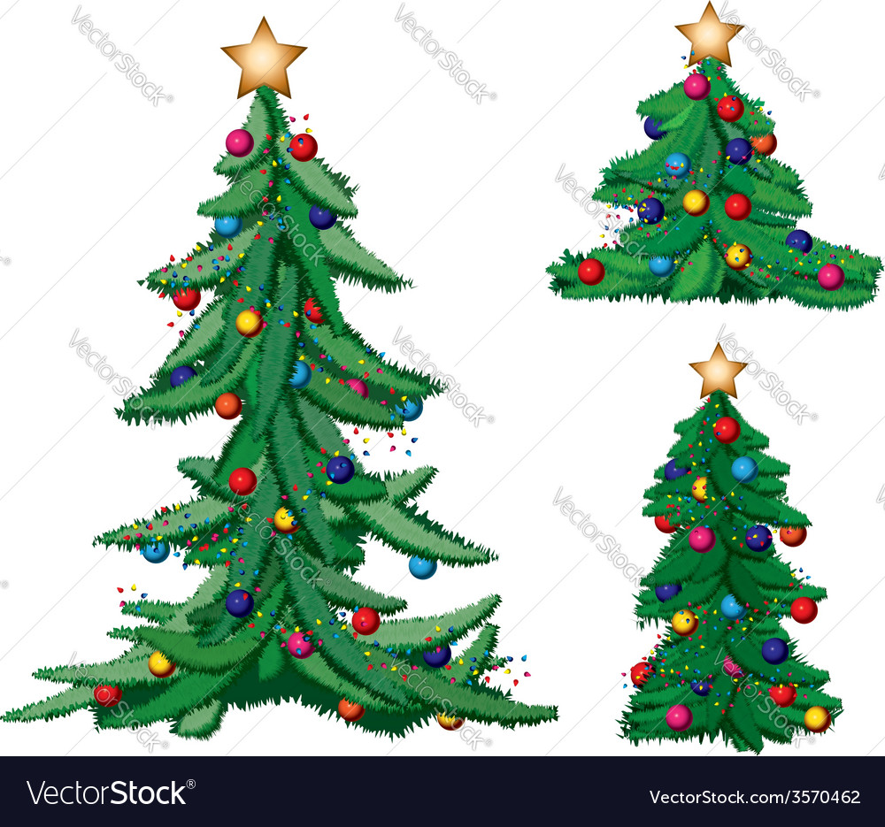 Set of ornate christmas trees vector | Price: 1 Credit (USD $1)
