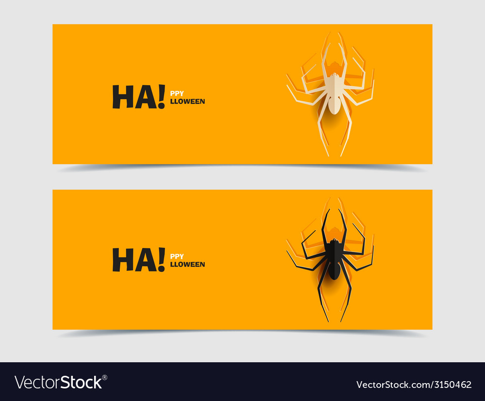 Set of two banners with spider cut out vector | Price: 1 Credit (USD $1)