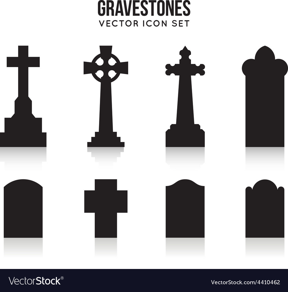 Tombstone silhouette icons isolated on white vector | Price: 1 Credit (USD $1)