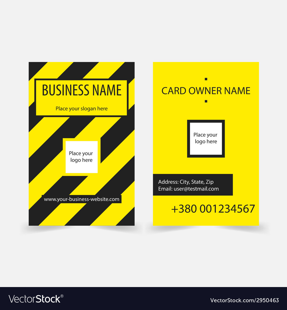 Abstract yellow stripes business cards vector | Price: 1 Credit (USD $1)
