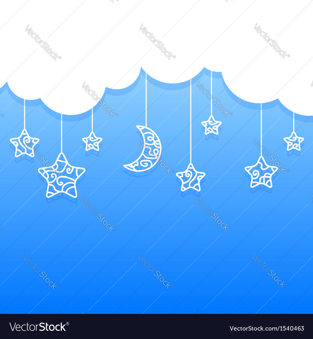 Blue background with clouds moon stars vector | Price: 1 Credit (USD $1)