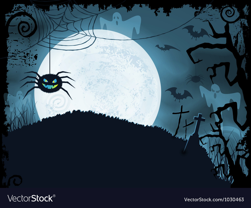 Blue halloween background with scary spider vector | Price: 1 Credit (USD $1)