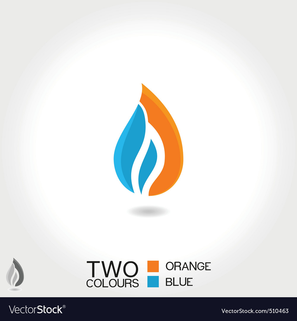 business emblem drop water flame icon blue vector | Price: 1 Credit (USD $1)