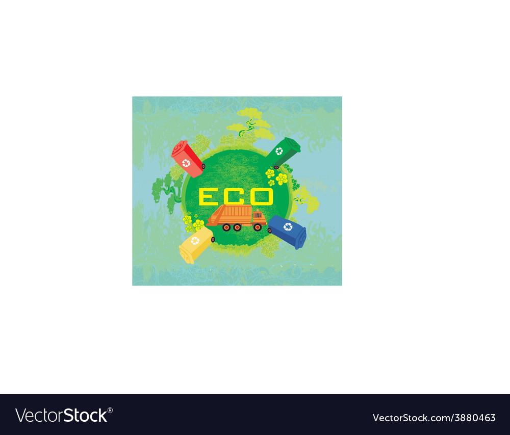 Ecology card design segregation of garbage vector | Price: 1 Credit (USD $1)